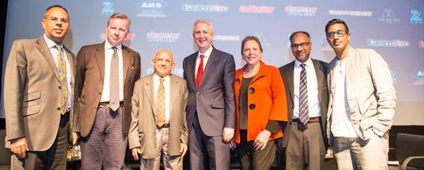 FORUM: (From left) Kalpesh Solanki, Michael Gove, Ramniklal Solanki CBE, Ivan Lewis, Susan Kramer, Shailesh Solanki and Nihal