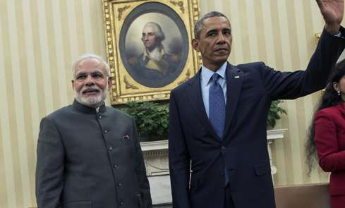 Narendra Modi with Barack Obama at the White House during his visit last year
