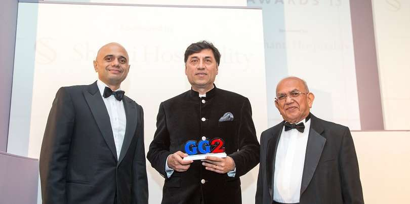 Rakesh Kapoor with Sajid Javid and AMG's editor in chief Ramniklal Solanki